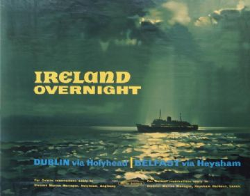 Irish poster, Ireland Overnight, British Railway's, travel poster print